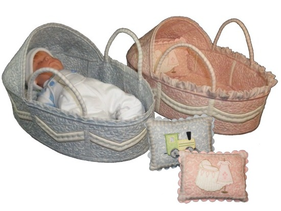 Baby baskets baby baskets and pillows made in the hoop these pretty
